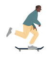 black man ride on skateboard african boy riding vector image vector image