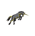 Black Unicorn Horse Charging Isolated Retro vector image vector image