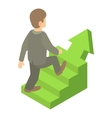 Businessman running up career ladder icon vector image vector image
