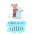 calendar for december 2020 with a mouse vector image