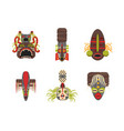 cartoon traditional religious totem color icons vector image vector image
