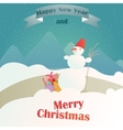 Christmas gifts on the background of a winter vector image vector image