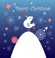 Christmas greeting card with bird vector image