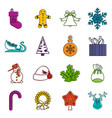 christmas icons doodle set vector image vector image