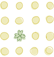 Coins and a 4 leaf clover vector image