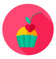 cupcake with cherry circle icon vector image vector image