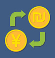 Currency exchange YenYuan and Shekel vector image vector image
