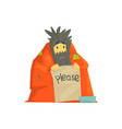 dirty homeless man character wrapped in a blanket vector image vector image