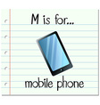 Flashcard letter M is for mobile phone vector image vector image
