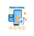 flat banner mobile banking on white background vector image