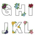 floral alphabet isolated letters with vector image vector image