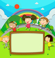 Frame design with children in the park vector image vector image