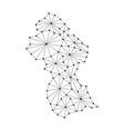 guyana map of polygonal mosaic lines network rays vector image vector image