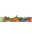 hand drawn colored vegetables border seamless vector image