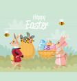 happy easter card with rabbits couple and baskets vector image vector image