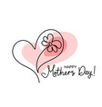 happy mother day card flower inside heart symbol vector image