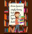hipster man carrying stack books in library vector image