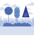 landscape nature trees city background vector image vector image