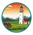 lighthouse and beautilful landscape vector image vector image