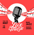 live music poster with a microphone for concert vector image vector image