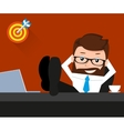 Lucky businessman is relaxing at work place vector image