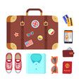 luggage decorated stickers vector image
