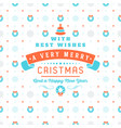 merry christmas and happy new year retro design vector image vector image