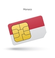 Monaco mobile phone sim card with flag vector image