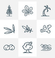 nature icons line style set with oak chestnut vector image