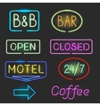 Neon sign icon set with flash light vector image