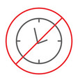 no clock thin line icon prohibited and ban no vector image vector image