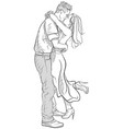romantic kissing and hugging couple vector image