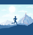 running man in mountains vector image vector image