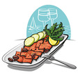 salmon carpaccio with olives and lime vector image vector image