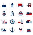 Seaport Flat Icons Set vector image vector image