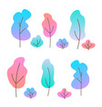 set flat trees and bushes vector image vector image