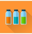 Set of three bottles with reagents vector image