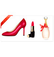 sexy high heel shoes lipstick vector image