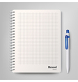 Spiral notebook with the white ballpoint pen vector image vector image