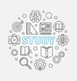 study round concept in thin vector image