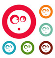 surprised smile icons circle set vector image