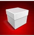 White Blank Paper Close Gift Box on Red Background vector image