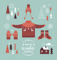 winter clothes and design elements vector image