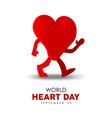world heart day card for sport and health care vector image