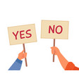 yes no banner isolated text placard hands hold vector image vector image