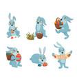 easter bunnies cartoon collection vector image
