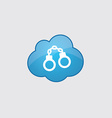 Blue cloud handcuffs icon vector image