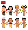 kids in different traditional costumes new vector image