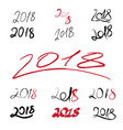 2018 handwritten sign set on white background vector image vector image