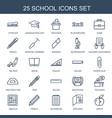 25 school icons vector image vector image